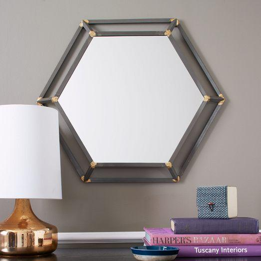 Hexagon Rustic Black And Brass Metal Mirror