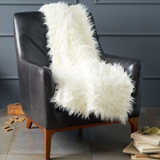 Faux Fur Mongolian Lamb Wool Ivory Throw
