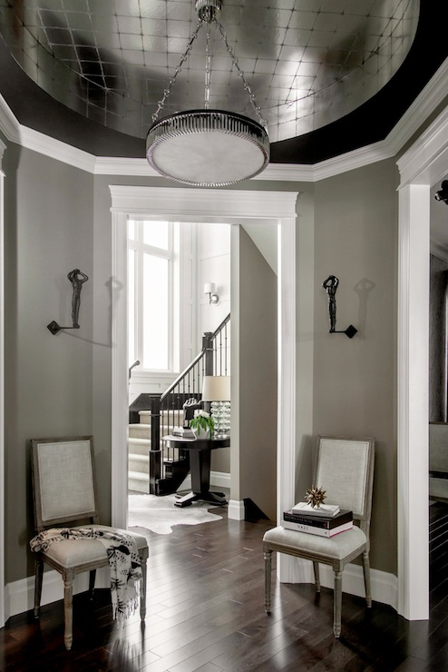 Foyer Tray Ceiling : Round glass top foyer table contemporary entrance