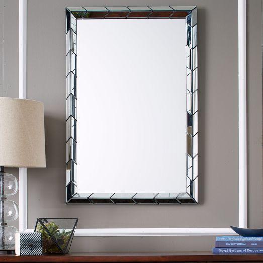 Chevron Tile Bordered Wall Mirror. Opaque White Glass Tiles Framed Mirror