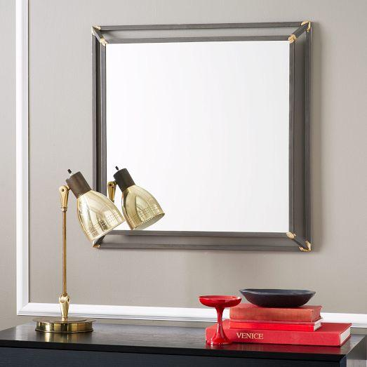 Brass Trim Black Rustic Metal Square Mirror