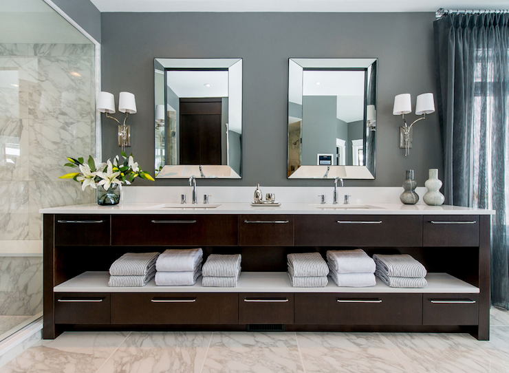 Dark Brown Double Vanity