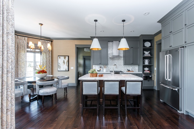 Gray cabinets contemporary kitchen atmosphere - Grey wood floors modern interior design ...