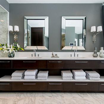 Dark Brown Double Vanity, Contemporary, bathroom, Atmosphere Interior Design