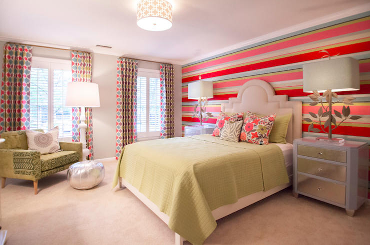 Striped Accent Wall Contemporary Girl S Room Lucy