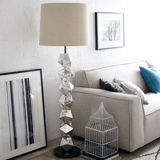 Stacked Polyhedron Mercury Glass Floor Lamp - Polyhedron Mercury Glass Floor Lamp