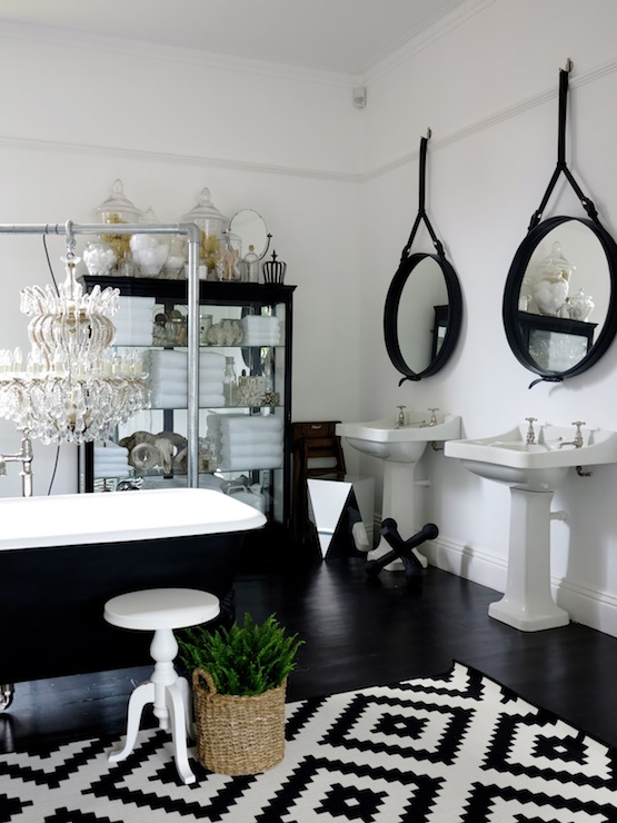 Mirrored apothecary cabinet eclectic bathroom 47 for Monochrome bathroom designs