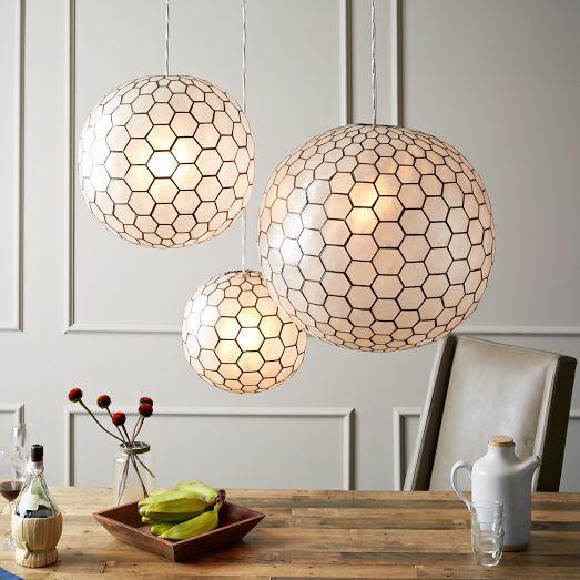 Hexagon Honeycomb Capiz Orb Pendants