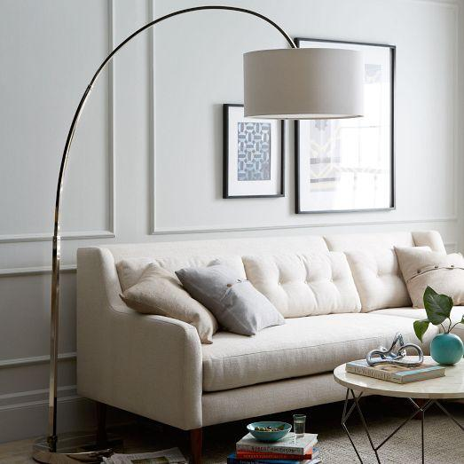 Overarching drum shade nickel floor lamp aloadofball Choice Image