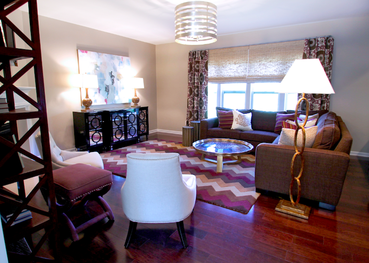 Brown and purple living room contemporary living room lucy and company - Purple and tan living room ...
