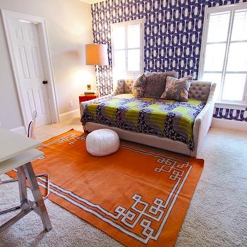 Orange Greek Key Rug, Contemporary, boy's room, Lucy and Company