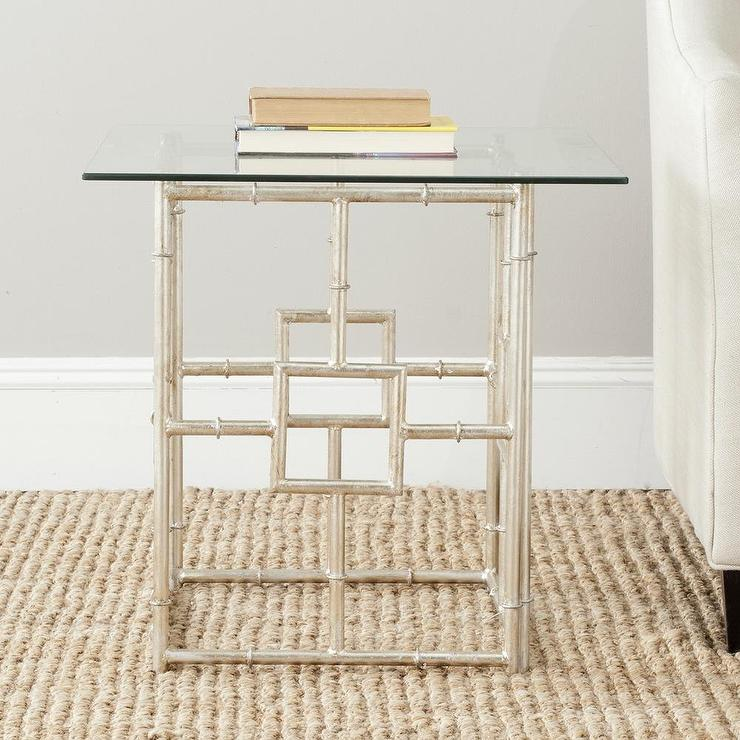 Safavieh Treasures Dermot Silver Bamboo Glass Top Accent Table - Bamboo end table glass top