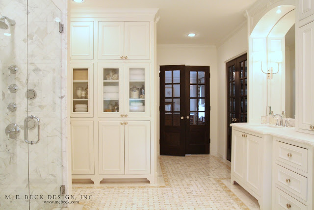 Built In Linen Cabinets Transitional Bathroom M E