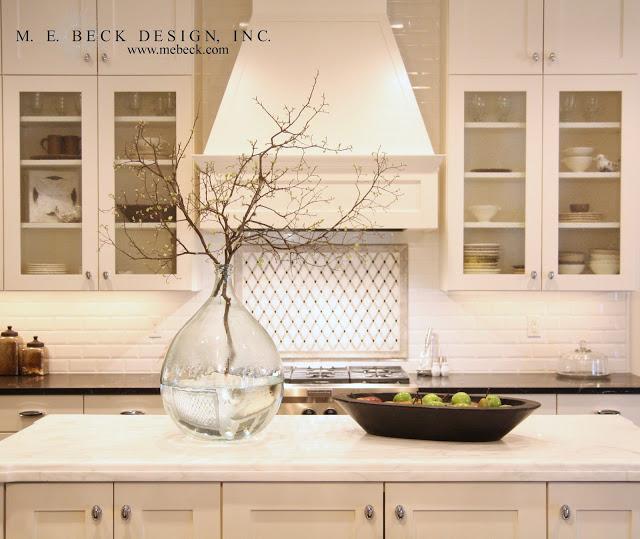Large Subway Tile Kitchen Backsplash: Calacatta Marble Countertops