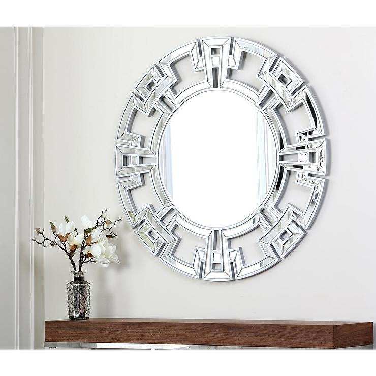 Silver Wall Mirrors abbyson living sol round silver wall mirror