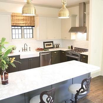 Black Bottom And White Top Kitchen Cabinets white kitchen with black industrial lighting and white quartz