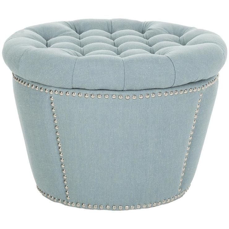 Safavieh florence tufted round nailhead trim light blue Round storage ottoman