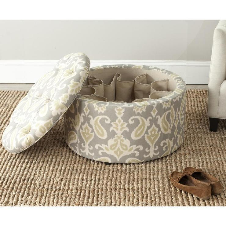 Safavieh Tanisha Ikat Grey Shoe Storage Ottoman