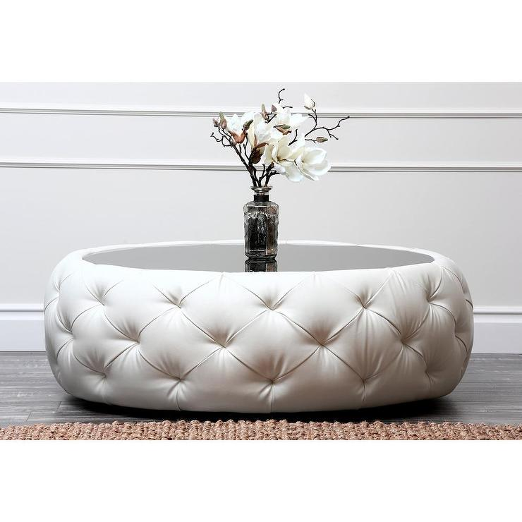 Abbyson living havana round ivory tufted leather coffee table Black round ottoman coffee table