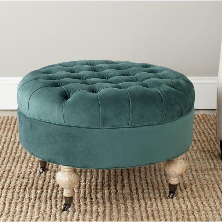 Cool Clara Marine Cotton Fabric Tufted Green Round Ottoman Inzonedesignstudio Interior Chair Design Inzonedesignstudiocom