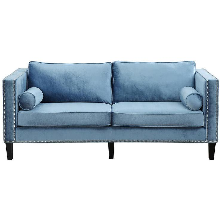 Cooper Blue Velvet Nailhead Trim Sofa