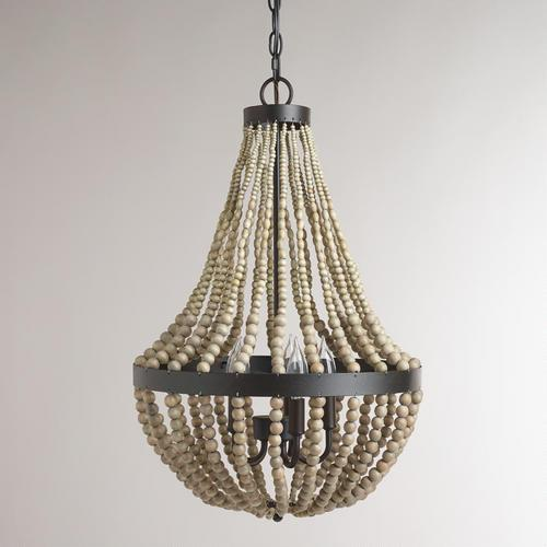 Small Wood Beaded Empire Chandelier