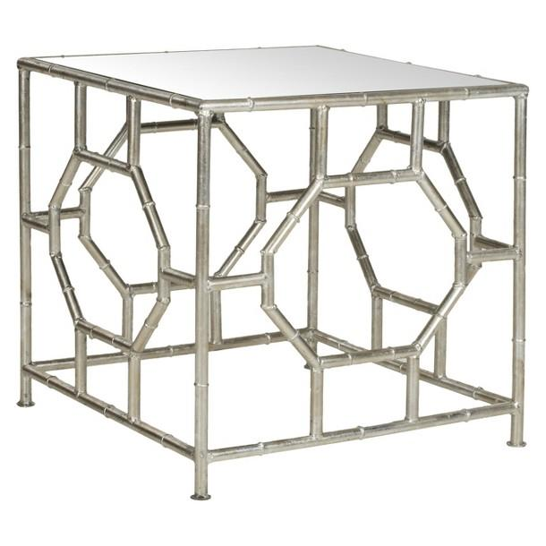 Rory Silver Bamboo Geometric Accent Table