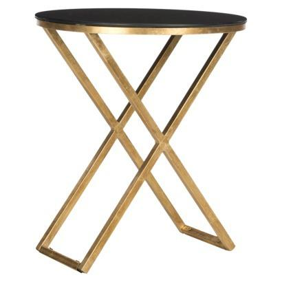 Lovely Riona Gold Base Black Top Accent Table