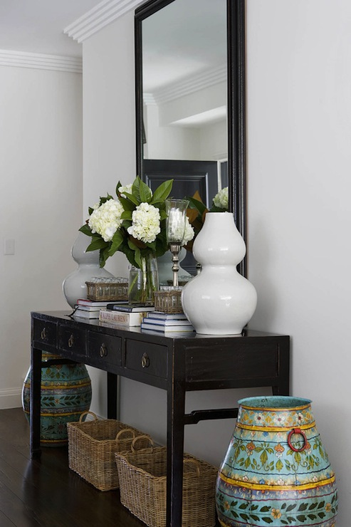 Black console table transitional entrance foyer Foyer console decorating ideas