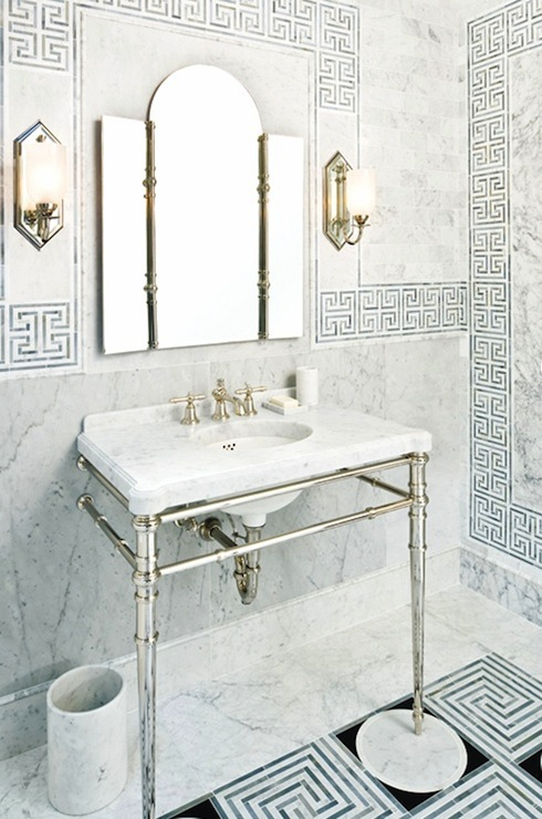 Greek key tiles contemporary bathroom style at home for Greek style bathroom design