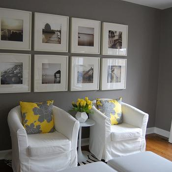 Yellow and Gray Bedroom Sitting Area - Transitional - Bedroom