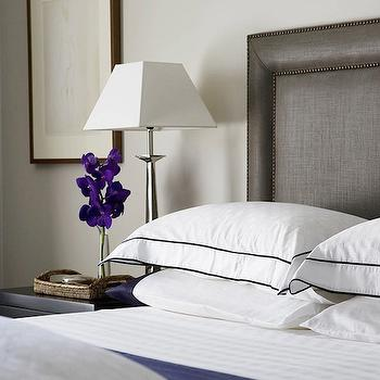 white and navy bedding