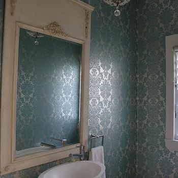 Turquoise Damask Wallpaper, French, bathroom, Denai Kulcsar Interiors