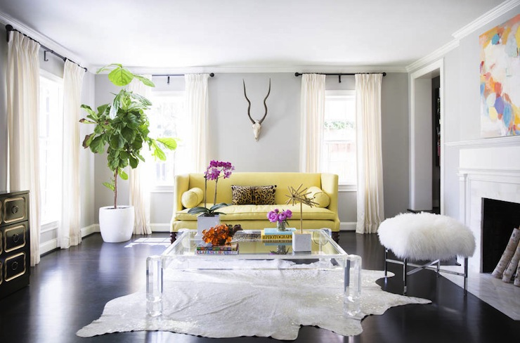 Sally Wheat   Yellow And Gray Sofa Featuring High Back Yellow Sofa Accented  With Yellow Bolster Pillows And Cheetah Lumbar Pillow Paired With Lucite  Coffee ... Part 25