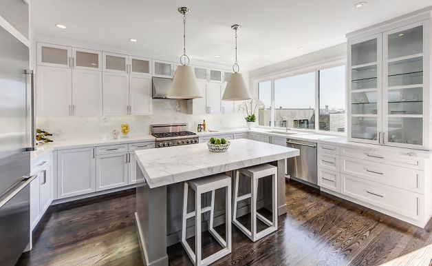 Gray Center Island Contemporary Kitchen Marsh And Clark