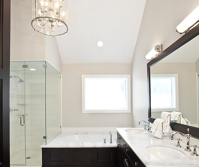 View Full Size Black And White Bathroom Features Framed Mirror