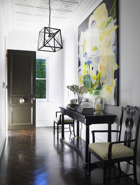 Large Art For Foyer : Yellow and black foyer contemporary entrance