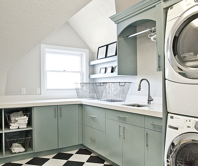 Black And White Laundry Room Contemporary Laundry Room