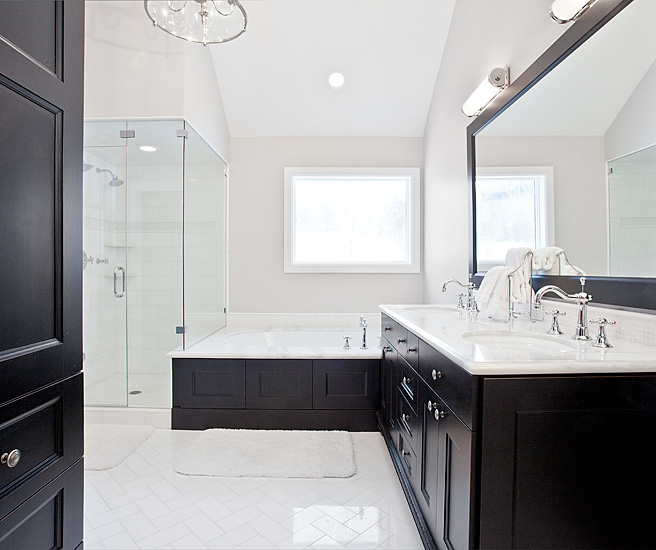 Black And White Bathroom Features Black Framed Mirror Over Black Double  Vanity Paired With White Marble Countertop And His And Her Sinks Accented  With ...