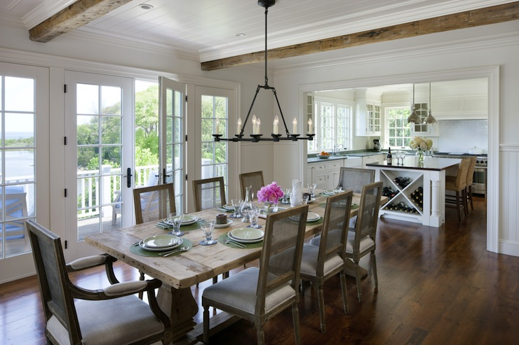 Salvaged wood trestle dining table cottage dining room for New england dining room ideas