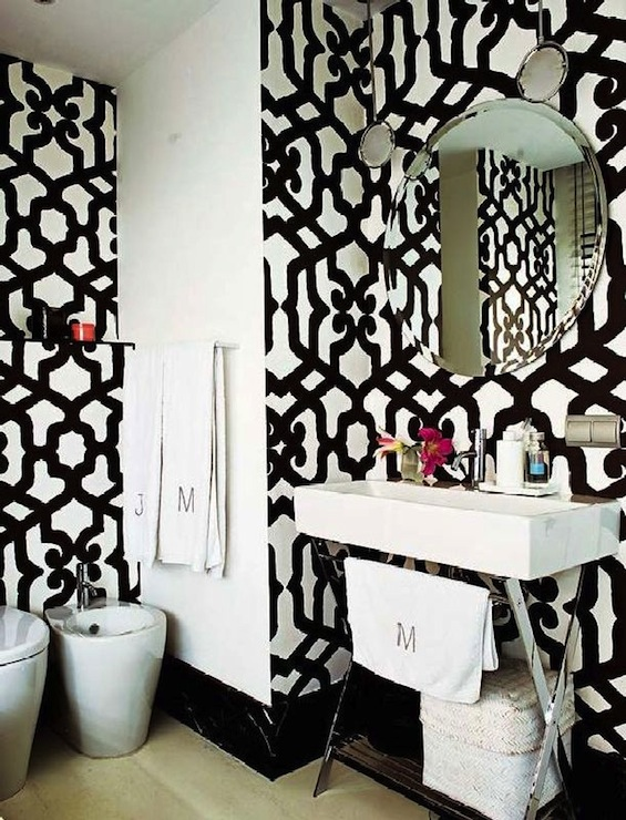Black and white trellis wallpaper contemporary bathroom for Dark bathroom wallpaper