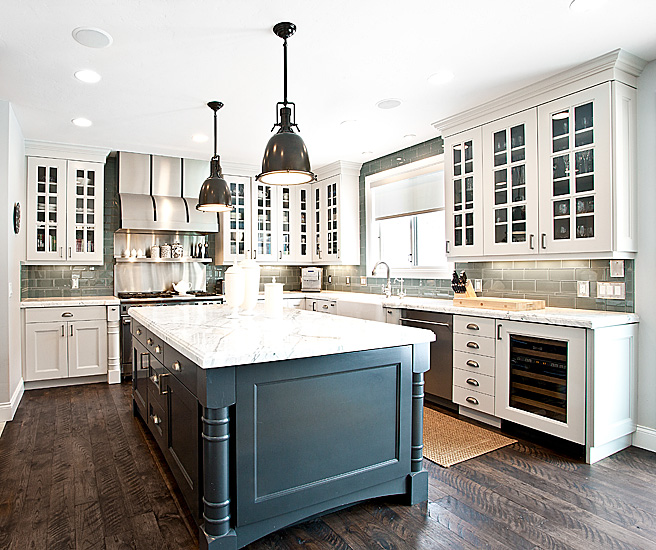 White Cabinets Gray Subway Tile Kashmir White Granite: Dark Gray Center Island