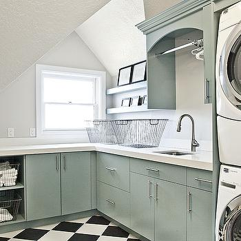 Green Cabinets, Transitional, laundry room, Jaffa Group