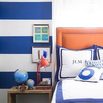 Blue and Orange Kids Room, Transitional, boy's room, Domino Magazine