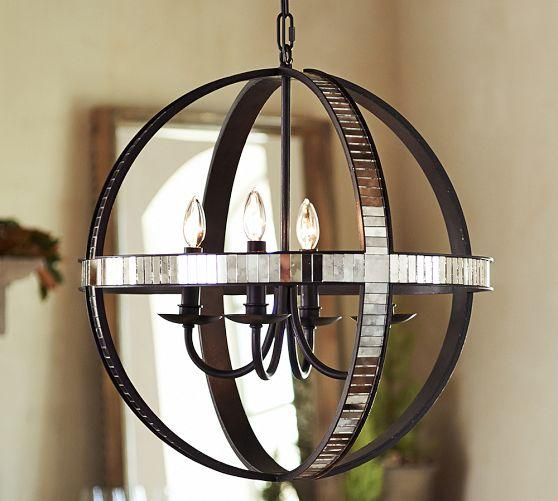 Pottery Barn Bronze Chandelier: Dumont Mosaic Mirrored Armillary Chandelier
