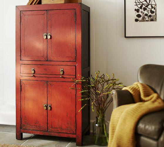 Red Weathered Cabinet