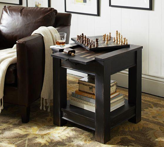 Dawson Black Game Side Table - Board game dining room table