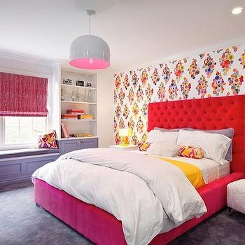 Red Tufted Headboard, Contemporary, girl's room, Melanie Morris Design