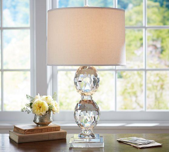 Lourdes stacked clear crystal ball ivory table lamp base carlotta faceted crystal bedside lamp base mozeypictures Choice Image
