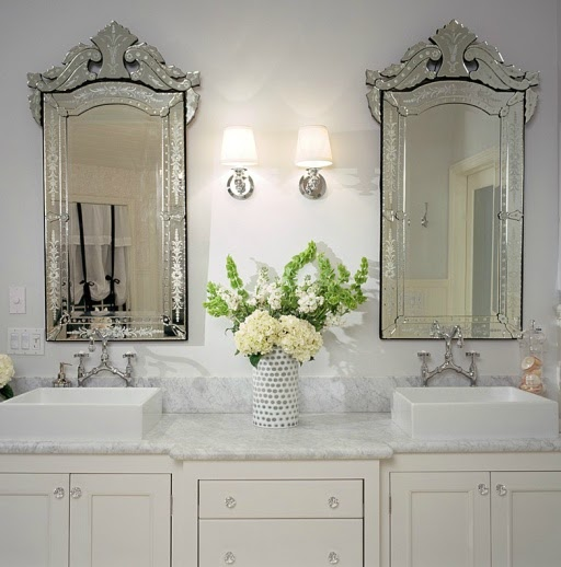 Ivory Double Vanity Transitional Bathroom